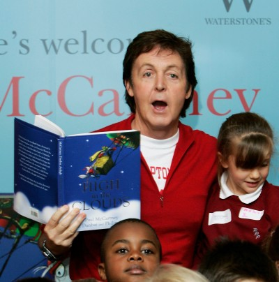 "LONDON - DECEMBER 14: (UK TABLOID NEWSPAPERS OUT) Sir Paul McCartney signs copies of his first children's book ""High In The Clouds"" at Waterstone's, Piccadilly on December 14, 2005 in London, England. (Photo by Dave Hogan/Getty Images)"